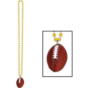 Beads w/Football Medallion (gold) Party Accessory (1 count) (1/Card)