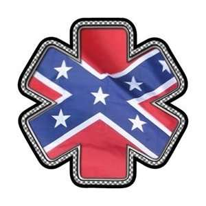 Confederate Flag Star of Life Decal   4 h   REFLECTIVE