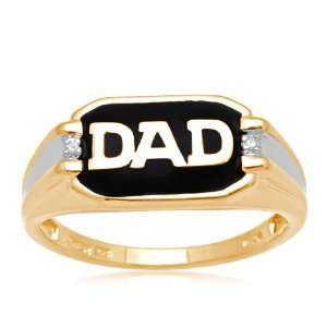 Mens 18k Yellow Gold Plated Sterling Silver Enamel DAD Diamond Ring
