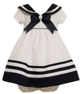 Bonnie Baby Girls Infant Nautical Dress With Navy Trim