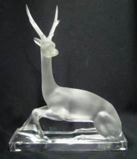Beautiful & Rare Lalique Cerf Stag Art Deco Style Art Glass Sculpture
