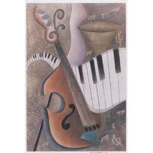Surreal Abstract Art Retro Modern Music Motif Piano/Violin
