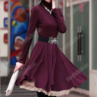 New Korea Women OL Stylish Slim Dress High Neck Long Sleeve Black