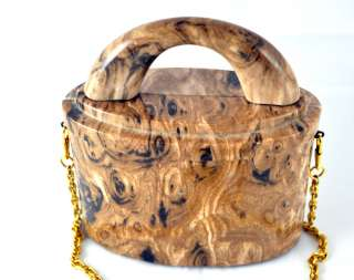 Original Womens Shoulder Bag Purse Wood Grain Look 22 Drop EUC