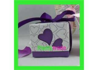 100X Purple LOVE Heart Design Wedding Favor Party Boxes With ribbon