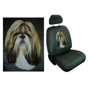 Car Truck SUV Shih Tzu Dog Print Seat Covers 2 Charcoal Grey Universal