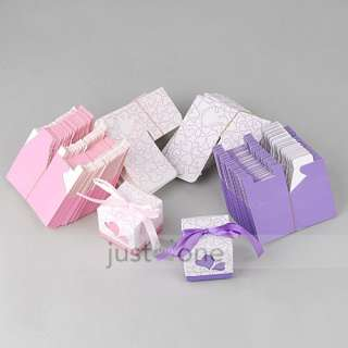 100 pcs Wedding Party Favors Candy Gifts Boxes Ribbon
