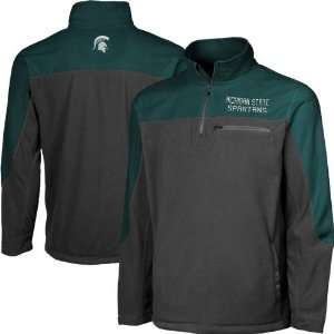 Michigan State Spartans Charcoal Green Blue Polar Fleece Quarter Zip