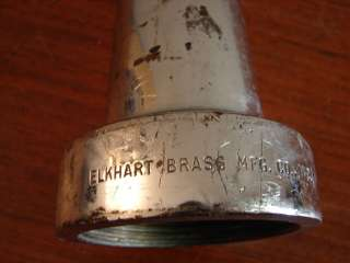 ANTIQUE ELKHART 15 AKRON 2.5 9 CHROME BRASS FIRE HOSE NOZZLE