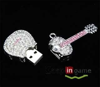 4GB 4 GB Jewelry USB Flash drive Diamond Guitar Shaped