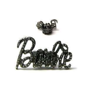 Iced Out Nicki Minaj Barbie Ring Black Clear Stretch