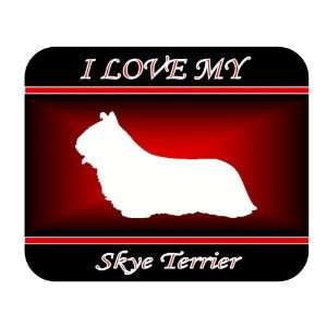I Love My Skye Terrier Dog Mouse Pad   Red Design