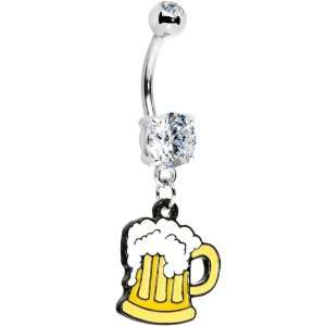 Crystalline Gem Beer Mug Belly Ring Jewelry