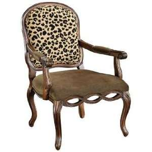 Lucero Leopard Print Jacobean Brown Accent Chair