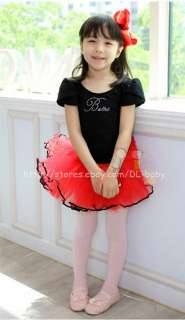 Child kids toddler Black Ballet Dance Leotard Tutu Girls Party Dress 3