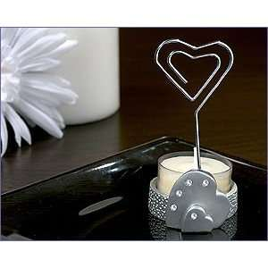 Place Card/Candle Holder With T Light Heart In Silver   Wedding Party