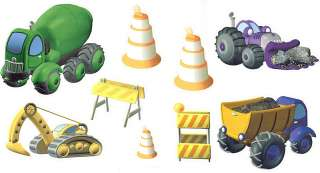 9pc CONSTRUCTION Work Heavy Trucks WALL STICKERS DECALS