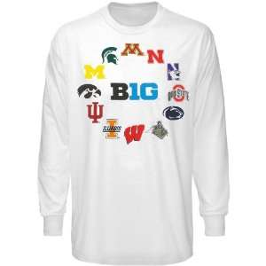 Big Ten Conference Youth Huddle Up Long Sleeve T Shirt   White