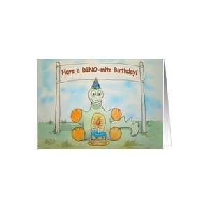 Happy Birthday Dinosaur Cake Candle Sign Card Text Card