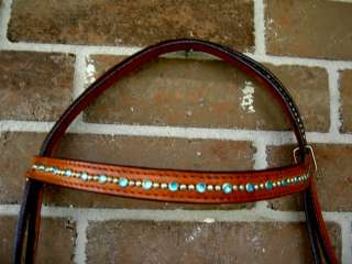 HORSE BRIDLE WESTERN LEATHER HEADSTALL AQUA CRYSTALS BLING RODEO TACK