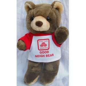 Brown Teddy Bear Plush Doll Toy, Wearing State Farm Insurance T Shirt
