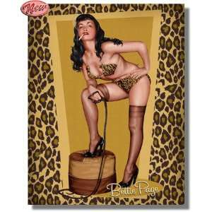 Bettie Page Golden Pin up Canvas Artwork