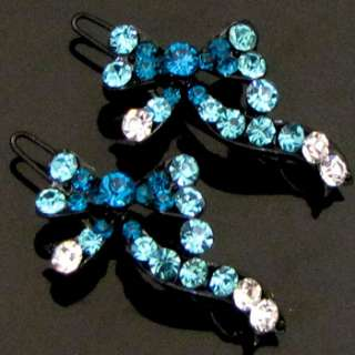 ADDL Item  2 pc Austrian rhinestone crystal bow tie hair