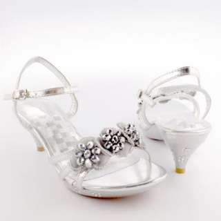 Kids Dress Dancing Silver Sandals / Youth Pageant Crowning Flower