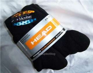 HEAD POWER CUSHIONED Crew Sport Socks Men Women 6 pair