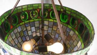 Antique ART DECO Tiffany Style Turtle Stained Glass Chandelier Pendant