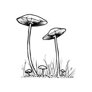 Toadstools   Wood Mounted Red Rubber Stamp by Cornish Heritage Farms