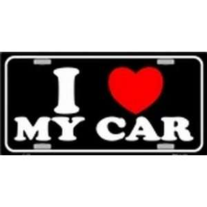 I Love MY Car Black License Plates Plate Tag Tags auto