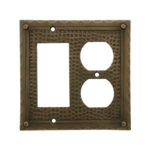 Bungalow Style Duplex / GFI Combination Switch Plate In Antique Brass