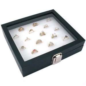 White 36 Ring Half Glass Top Jewelry Display Case Box