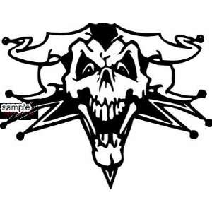 EVIL JOKER SKULL CLOWN SKULL WHITE VINYL DECAL STICKER