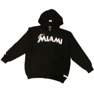 MLB Florida Miami Marlins New Logo Large Lg Black Blk Hoodie Sweater