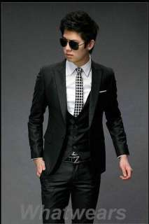 Mens Fashion Stylish Slim Fit One Button Suit Grey J35