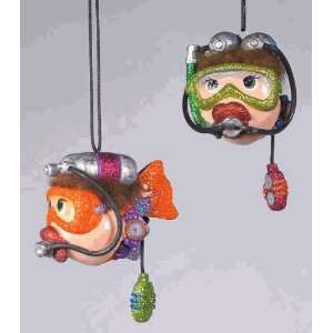 Katherines Collection Scuba kissing fish Christmas ornament