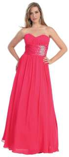 Elegant Long Evening Strapless Prom Gown   Pageant Formal Ball Dresses