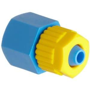 Tube Fitting, Adapter, Yellow/Blue, 1/4 Tube OD x 1/8 BSPT Female