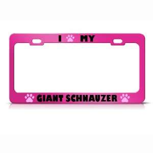 Giant Schnauzer Paw Love Pet Dog Metal license plate frame Tag Holder