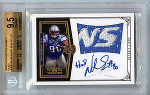 10 National Treasures Ndamukong Suh Auto LOGO Patch SP RC /25 BGS 9.5