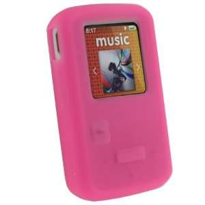 iGadgitz Pink Silicone Skin Case Cover for SanDisk Sansa
