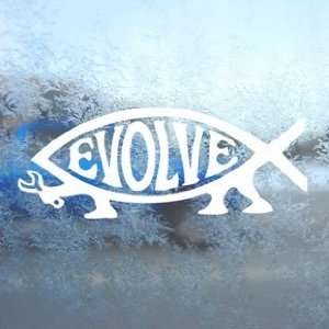 Evolution Fish Tool White Decal Car Window Laptop White