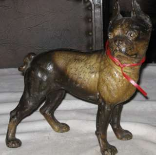 ANTIQUE HUBLEY BOSTON TERRIER DOG DOORSTOP CAST IRON HOME GARDEN PORCH
