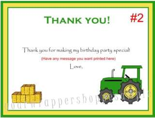 20 GREEN FARM TRACTOR Birthday Thank You Cards Notes