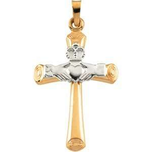 14K Gold Two Tone Hollow Claddagh Cross Pendant Jewelry