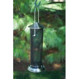Brushed Nickel Thistle Mini Tube Bird Feeder Patio, Lawn