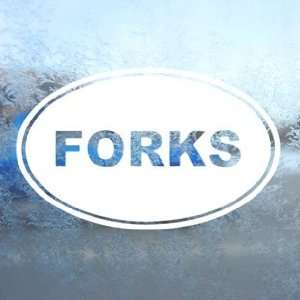 Forks Euro Ovel White Decal Car Laptop Window Vinyl White