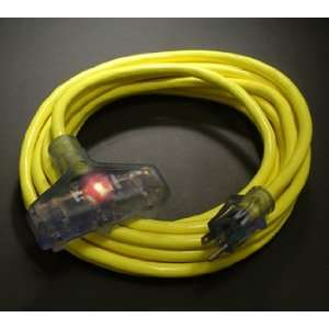 25 12/3 SJTW Pro Glo Triple Tap Extension Cord Yellow